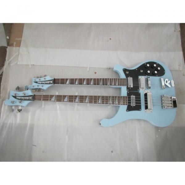 Custom 4003 Double Neck Rickenbacker Light Blue 4 String Bass 6 String Guitar Bolt On #2 image