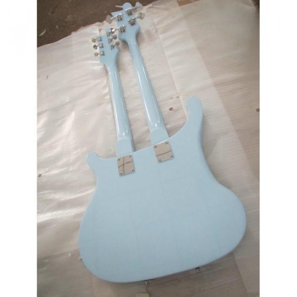 Custom 4003 Double Neck Rickenbacker Light Blue 4 String Bass 6 String Guitar Bolt On #5 image
