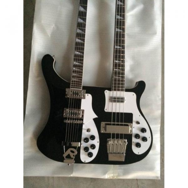 Custom 4003 Double Neck Rickenbacker Black 4 String Bass 6 String Guitar #1 image