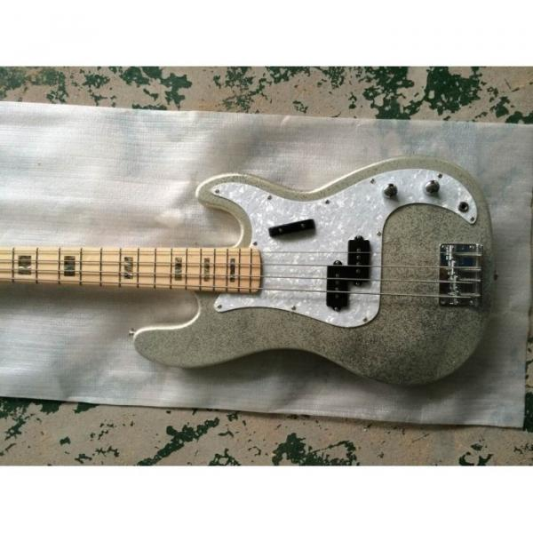 Custom Shop Sparkle Silver Jazz Bass Silver Dust Metallic P Bass Guitar #2 image