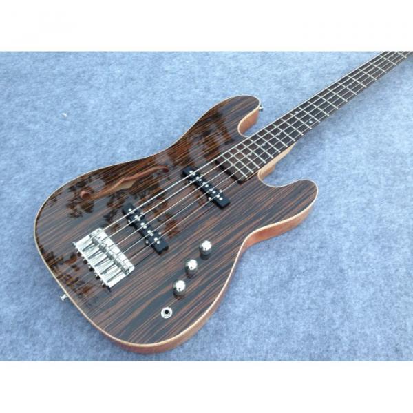 Custom American Vintage 5 String Bass Zebra Finish F Hole #1 image
