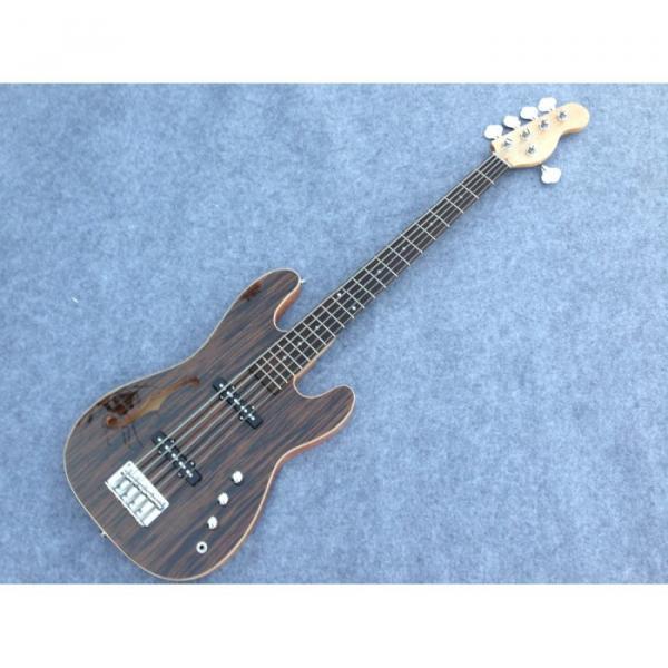 Custom American Vintage 5 String Bass Zebra Finish F Hole #3 image