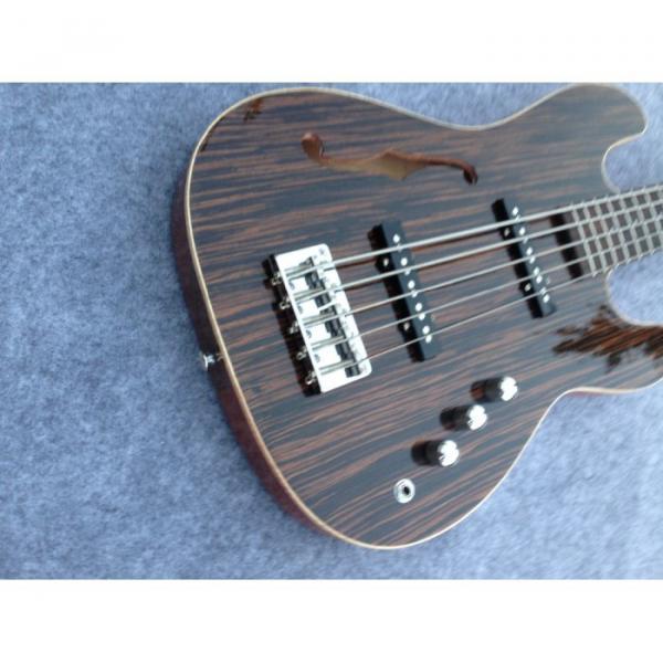 Custom American Vintage 5 String Bass Zebra Finish F Hole #4 image