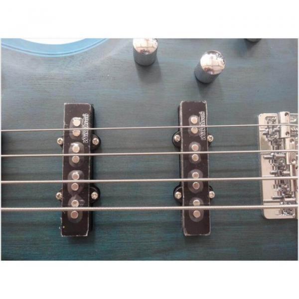 Custom Active Pickup 4 String Bass Guitar Blue Finish Wilkinson Pickups #5 image