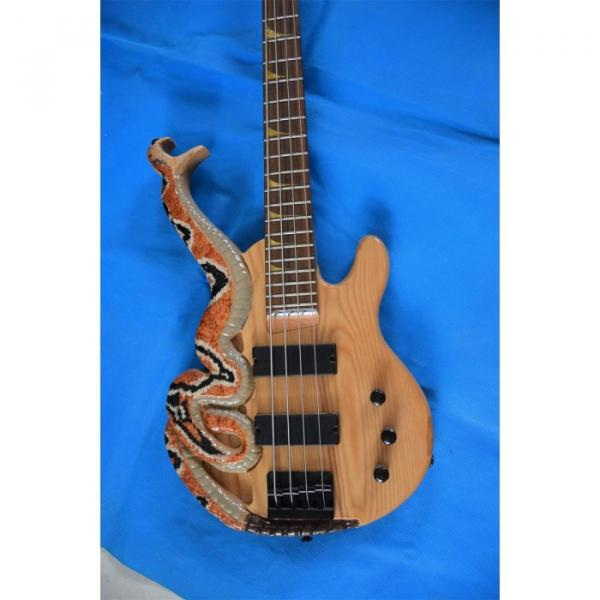 Custom 4 String Cobra Snake Hand Painted Electric Bass Carved Japan Parts #1 image