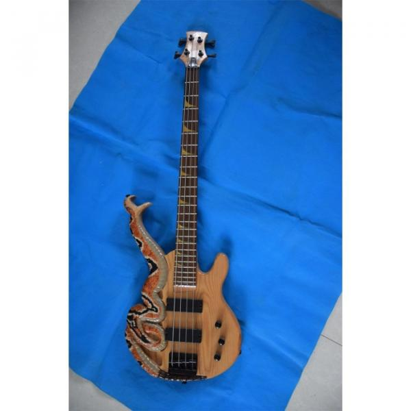 Custom 4 String Cobra Snake Hand Painted Electric Bass Carved Japan Parts #3 image