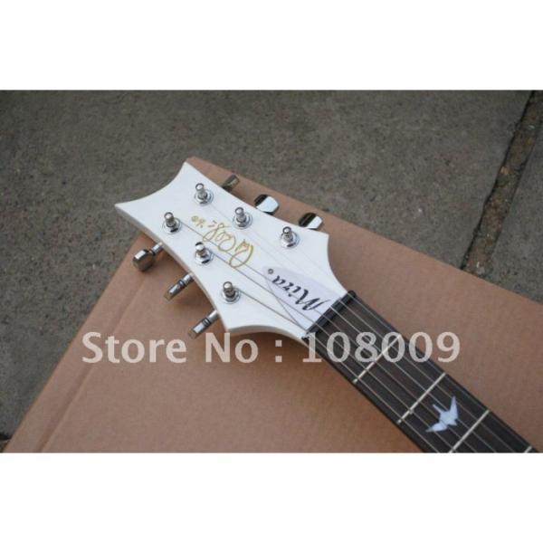 White PRS Mira Bird Inlay 2 Zebra Pickups Electric Guitar #5 image