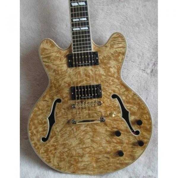 The Top Guitars Brand Natural Wood Handmade Electric Jazz Guitar #1 image