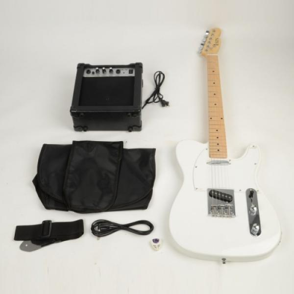Professional Electric Guitar White with Amplifier Bag Strap Tool Pick #3 image