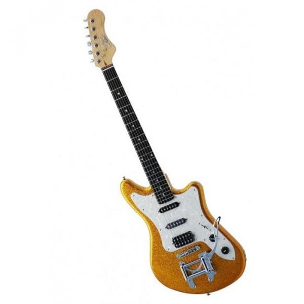 Eko Camaro Gold Sparkle Italian Designed Electric Guitar With Vintage Tremolo #2 image