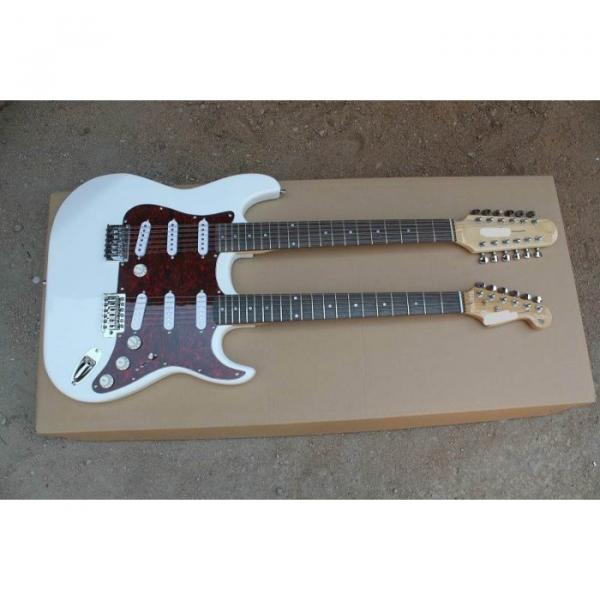 Double Neck Fender Stratocaster Vintage White Electric Guitar #1 image