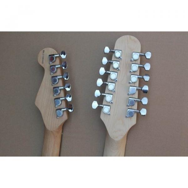 Double Neck Fender Stratocaster Vintage White Electric Guitar #3 image