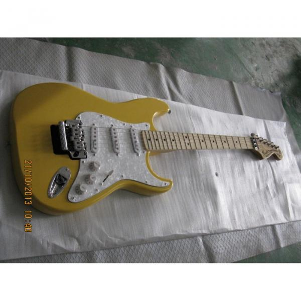 Custom Yellow Fender Stratocaster Floyd Rose Tremolo Electric Guitar #1 image