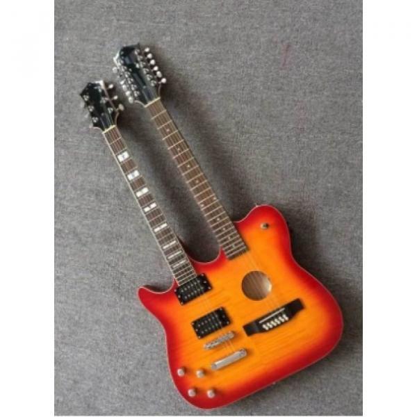 Custom Telecaster 6 String 12 String Electric Guitar Double Neck Sunburst Left Handed #1 image