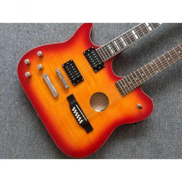 Custom Telecaster 6 String 12 String Electric Guitar Double Neck Sunburst Left Handed #2 image