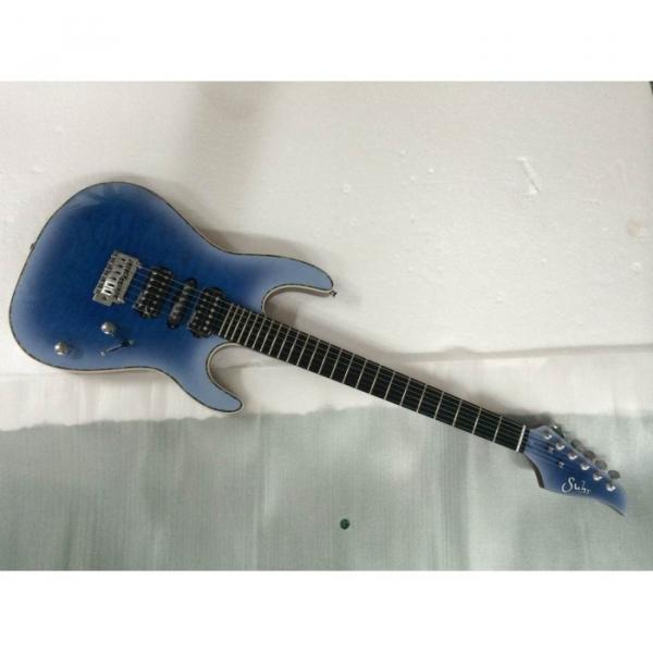 Custom Shop Suhr Quilt Maple Top Transparent Natural Fade Blue Burst Electric Guitar #4 image