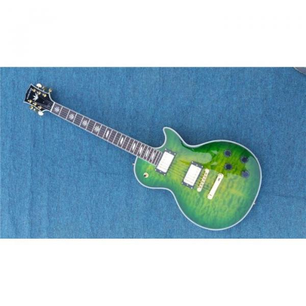 Custom Shop Quilted Maple Top Green Customed Headstock Electric Guitar #1 image