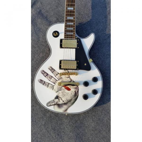 Custom Shop LP Hands On White Electric Guitar #4 image