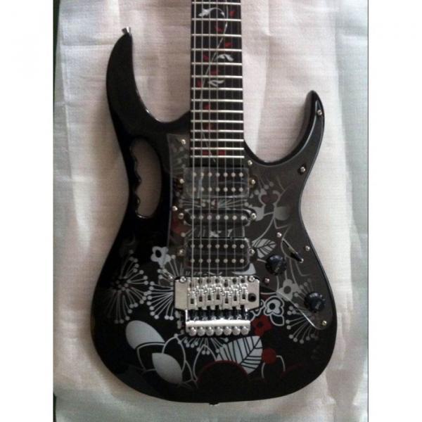 Custom Shop Ibanez Black Flower Pattern JEM 77 Electric Guitar 7 String #1 image
