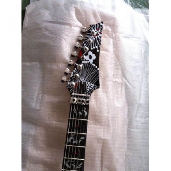 Custom Shop Ibanez Black Flower Pattern JEM 77 Electric Guitar 7 String #2 image