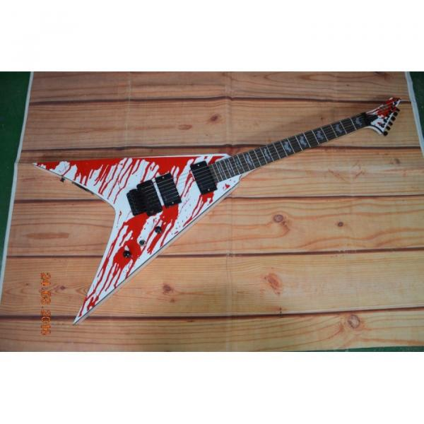 Custom Built Dan Jacobs Flying V ESP LTD Blood Spatter Electric Guitar #1 image
