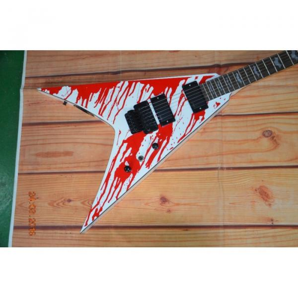 Custom Built Dan Jacobs Flying V ESP LTD Blood Spatter Electric Guitar #3 image