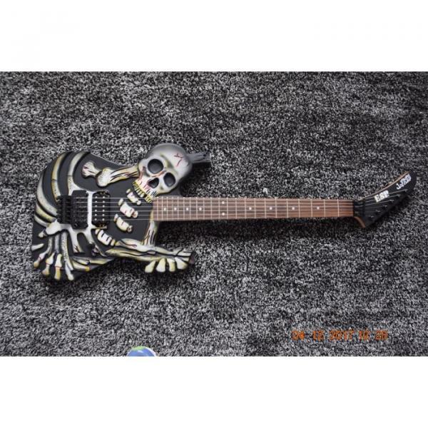 Custom  ESP Black Carved Skull Electric Guitar #1 image