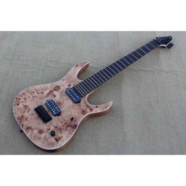 Custom Shop 7 String Birdseye  Natural Electric Guitar Black Machine #1 image