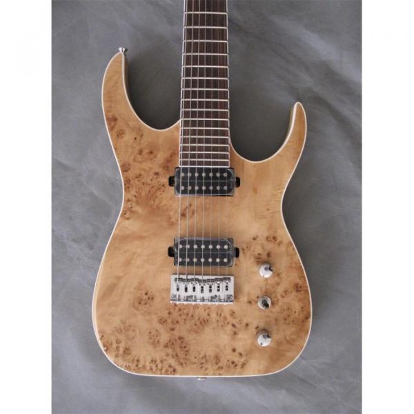 Custom Shop 7 String Natural Birds Eye Electric Guitar  Black Machine #1 image