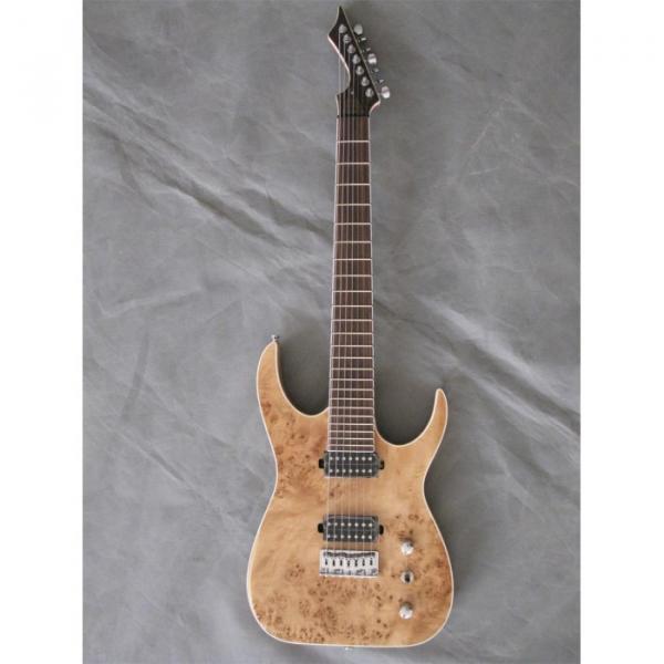 Custom Shop 7 String Natural Birds Eye Electric Guitar  Black Machine #2 image