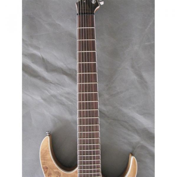 Custom Shop 7 String Natural Birds Eye Electric Guitar  Black Machine #4 image