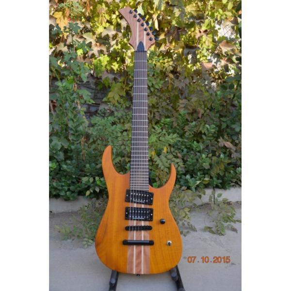 Custom Shop 7 String Honey Amber Finish Electric Guitar Black Machine #4 image