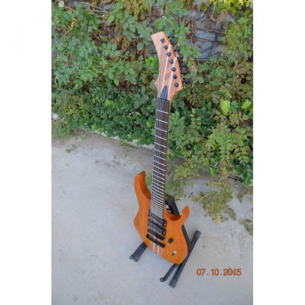 Custom Shop 7 String Honey Amber Finish Electric Guitar Black Machine #5 image