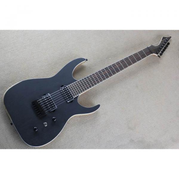 Custom Shop 7 String Black Electric Guitar  Black Machine #1 image