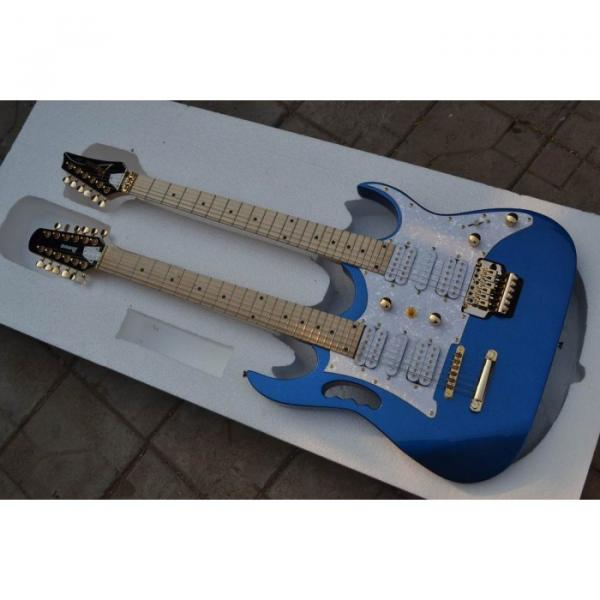 Custom Shop Double Neck Jem Metallic Blue 6 and 12 Strings Electric Guitar #1 image