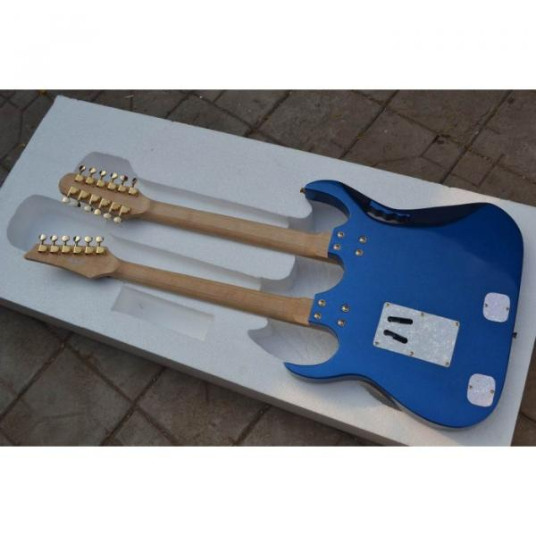 Custom Shop Double Neck Jem Metallic Blue 6 and 12 Strings Electric Guitar #3 image