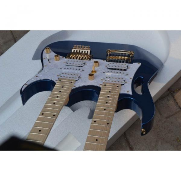 Custom Shop Double Neck Jem Metallic Blue 6 and 12 Strings Electric Guitar #5 image