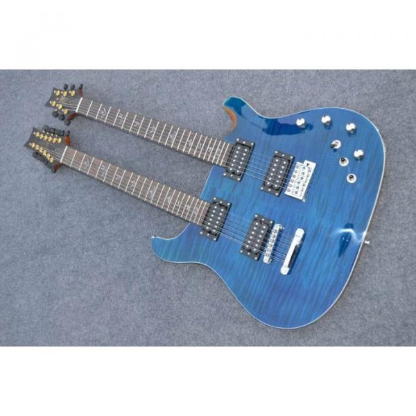 Custom Shop Double Neck 22 6 and 12 Strings Blue PRS Guitar #1 image