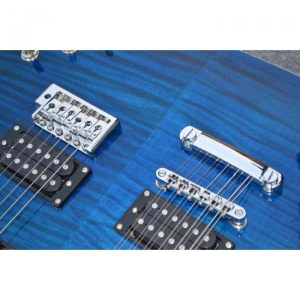 Custom Shop Double Neck 22 6 and 12 Strings Blue PRS Guitar #2 image