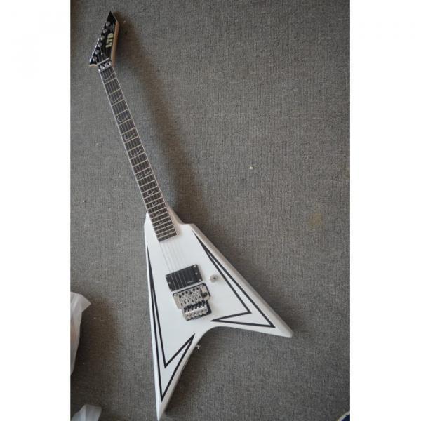 Custom Shop LTD Flying V Alexi Laiho White Electric Guitar #6 image