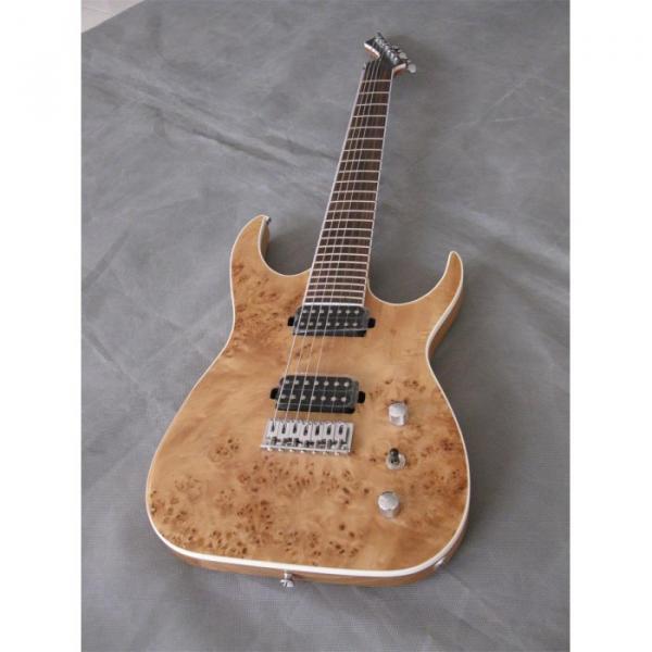 Custom Shop 7 String Natural Birds Eye Electric Guitar  Black Machine #6 image