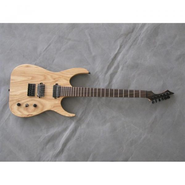 Custom Shop Black Machine 6 String Natural Wood Electric Guitar #8 image
