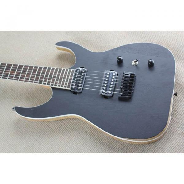 Custom Shop 7 String Black Electric Guitar  Black Machine #10 image