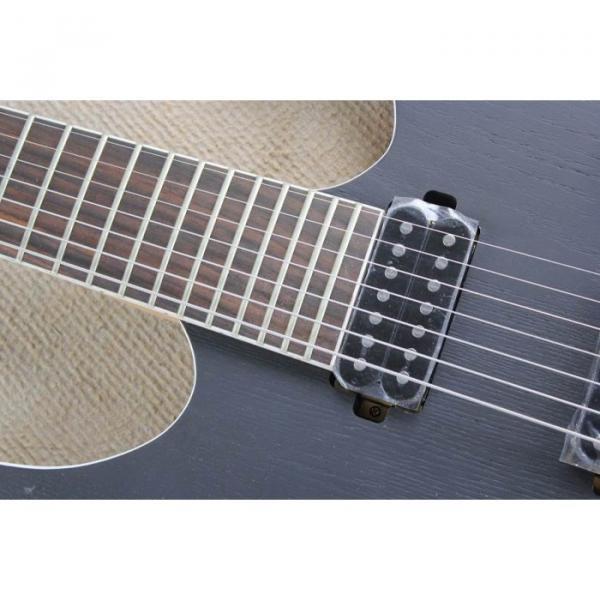 Custom Shop 7 String Black Electric Guitar  Black Machine #11 image