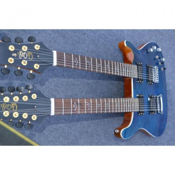 Custom Shop Double Neck 22 6 and 12 Strings Blue PRS Guitar #6 image