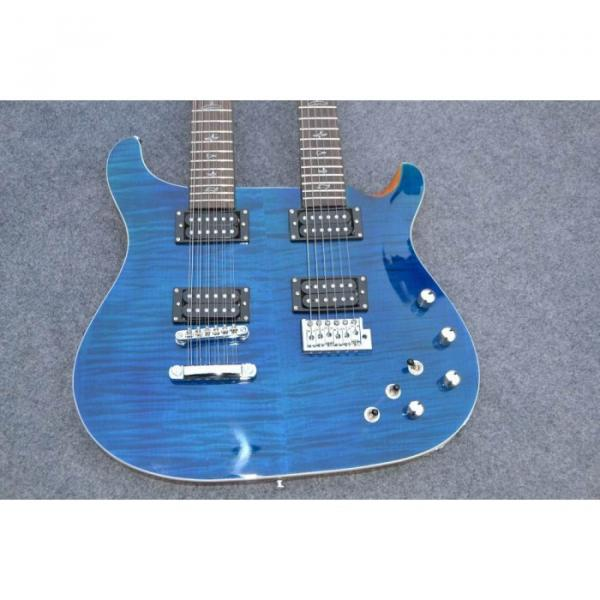 Custom Shop Double Neck 22 6 and 12 Strings Blue PRS Guitar #7 image