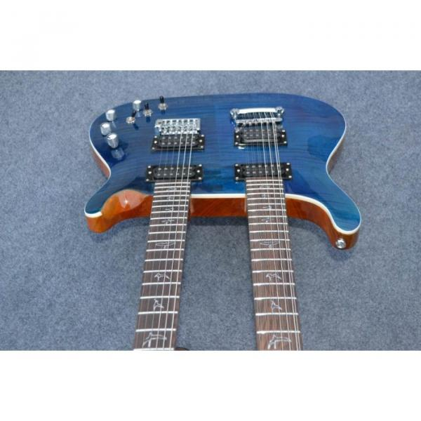 Custom Shop Double Neck 22 6 and 12 Strings Blue PRS Guitar #9 image