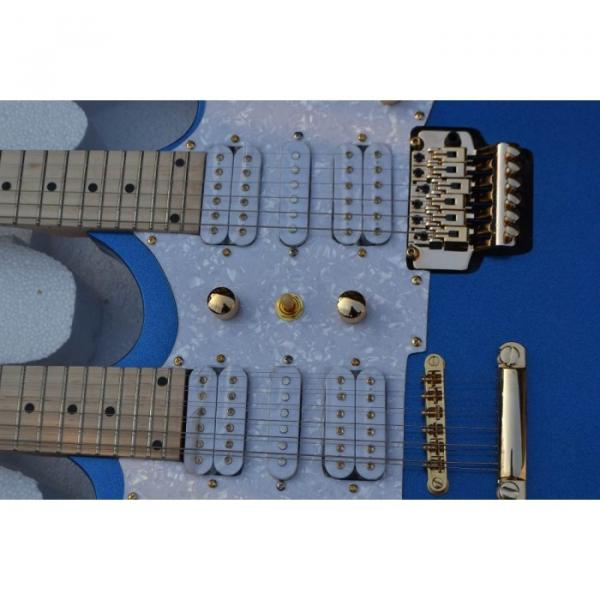 Custom Shop Double Neck Jem Metallic Blue 6 and 12 Strings Electric Guitar #6 image