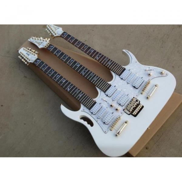 Custom Ibanez White JEM 7V Triple Neck 6/6/12 Strings Guitar #1 image