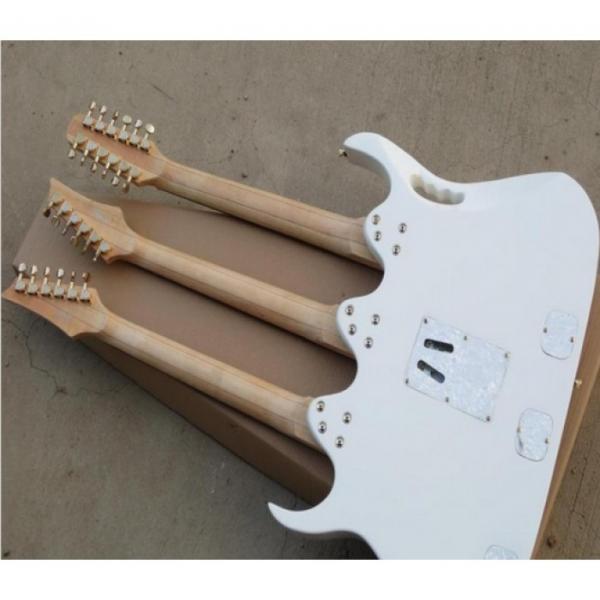 Custom Ibanez White JEM 7V Triple Neck 6/6/12 Strings Guitar #2 image